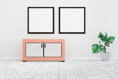 Modern living room interior with twin whiteboard on the white wall royalty free illustration