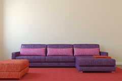 Modern living-room. Interior with violet couch near empty beige wall. 3d render royalty free illustration