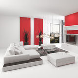 Modern living room interior with vivid red accents. Upmarket modern living room interior with vivid red accents and white decor with a comfortable modular lounge stock illustration