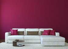 Modern living-room. Interior with white couch near empty red wall. 3d render. Photo for book cover was made by me Royalty Free Stock Images
