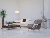 Modern living room interior with white couch and plant Stock Photography