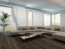 Modern Living Room Interior with white curtains Royalty Free Stock Photo