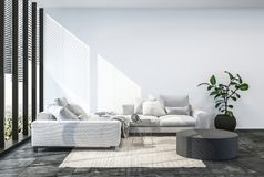 Modern living room interior with white wall. Stock Photography