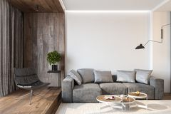 Free Modern Living Room Interior With Blank Wall, Sofa, Lounge Chair, Table, Wooden Wall And Floor. Stock Photos - 143406623