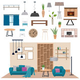 Modern living room interior with wood floor apartment furniture vector illustration. Royalty Free Stock Photo