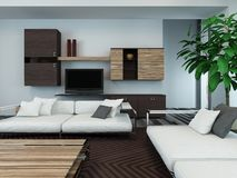 Modern living room interior with wooden cabinets Stock Photos
