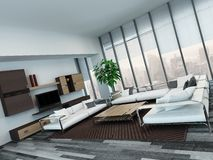 Modern living room interior with wooden cabinets Royalty Free Stock Photos