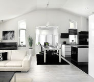 Modern living room kitchen combination Royalty Free Stock Images