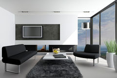 Modern Living Room with landscape view. A 3d rendering of modern living room interior with landscape view Royalty Free Stock Photo