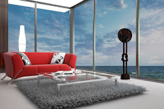 Modern Living Room with landscape view. A 3d rendering of modern living room interior with landscape view Stock Photos