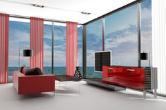 Modern Living Room with landscape view Royalty Free Stock Photography