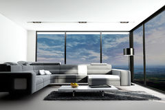 Modern Living Room with landscape view. A 3d rendering of modern living room interior with landscape view Stock Image