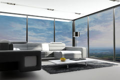 Modern Living Room with landscape view. A 3d rendering of modern living room interior with landscape view Stock Photo