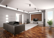 Modern Living room with lcd interior 3d Royalty Free Stock Image