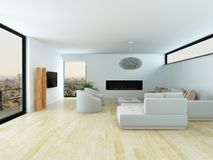 Modern living room with light parquet floor Stock Photo