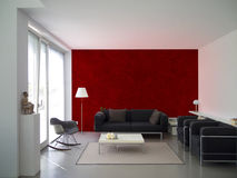 Modern living room with maroon wall Royalty Free Stock Images