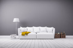 Modern living room in minimalistic style with sofa. Interior rendering of modern living room in minimalistic style with white leather sofa Stock Image