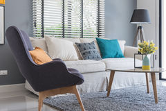 Modern living room with modern chair and sofa with vase of plant Stock Photography