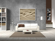 Modern living room in natural colors. Modern fictitious living room with white sofa and copy space for your own image/photos on the concrete wall behind the sofa Royalty Free Stock Image