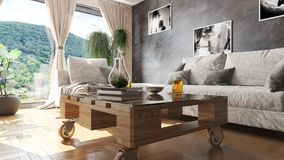 Modern living room with pallet table and beautiful view 3D illustration vector illustration