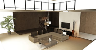 Modern living room panorama Royalty Free Stock Image