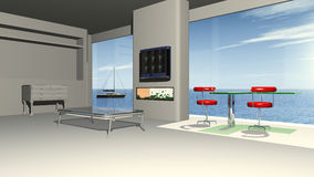 Modern living room with a panorama view to the sea Royalty Free Stock Photography