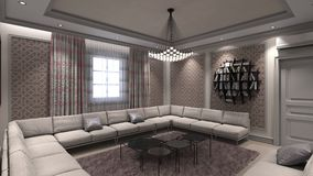Modern Living Room in Privat House Stock Photos