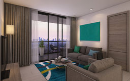 Modern Living Room in Privat House Stock Photography
