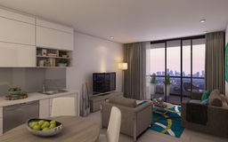 Modern Living Room in Privat House Royalty Free Stock Photography