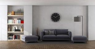 Modern living room with purple sofa stock illustration