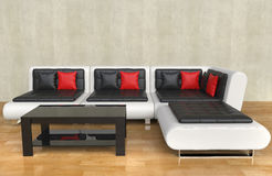 Modern Living Room - Red Pillows Stock Image