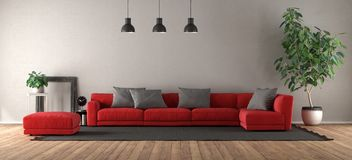 Modern living room with red sofa royalty free stock photo