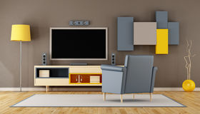Modern living room room with TV Stock Image