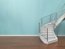 Modern Living Room Simple Staircase Composition and loft of Home office. Minimal Design style Summer Royalty Free Stock Image