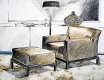 Modern living room sketch Stock Photos