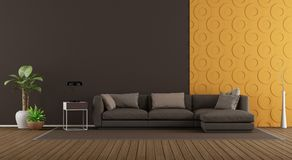 Modern living room with sofa and decorative panel. Modern living room with brown sofa against orange decorative panel - 3d rendering royalty free illustration