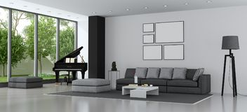 Modern living room with sofa and grand piano. Living room of a modern villa with sofa and grand piano - 3d rendering Royalty Free Stock Photo