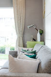 Modern living room with sofa and green table side Royalty Free Stock Images