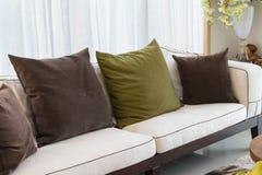 Modern living room sofa and pillows Stock Photography