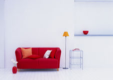 Modern living room with sofa and shelf Royalty Free Stock Photos
