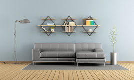 Modern living room with sofa and shelves Stock Images