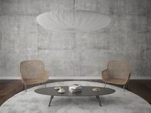 Modern living room with stylish armchairs. Modern living room with stylish armchairs and hipster background, 3d rendering Royalty Free Stock Images