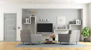 Modern living room with tv Royalty Free Stock Photo