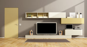 Modern living room with tv set Royalty Free Stock Image