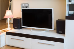 Modern living room - TV and speakers Stock Image