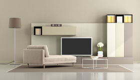 Modern living room with tv unit Royalty Free Stock Photos