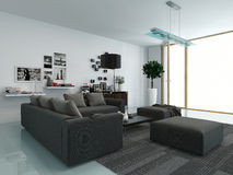 Modern living room with an upholstered suite Royalty Free Stock Photos