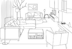 Modern Living Room Vector Line Art Illustration. For many purpose such as architecture and interior magazine, website, blog, coloring book, print on canvas or royalty free illustration