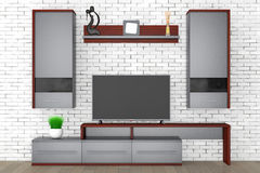 Modern Living Room Wall Unit. 3d Rendering Royalty Free Stock Images
