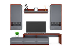 Modern Living Room Wall Unit. 3d Rendering Royalty Free Stock Photo
